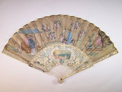Superb antique 18thC french carved hand painted fan / chinoiseries chinese scene