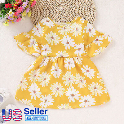 Toddle Kids Baby Girl Summer Floral Short Bell Sleeve Dress Party Clothes Outfit
