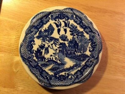 Vintage Blue Willow Trivet Round Scalloped House of Blue Willow Japan