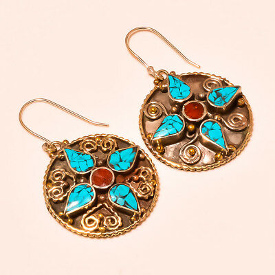 """Blue Turquoise ,Red Coral 925 sterlingSilver  Jewelry Tibbetan Earring 2"""""""
