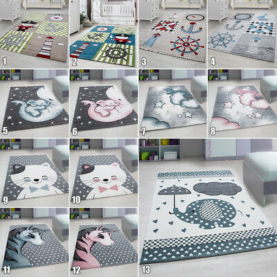 Grey Nursery Rug for Kids Room Floor Carpets Small Large Baby Playroom Mat Round