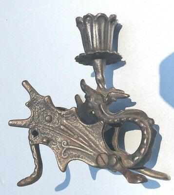Vintage Cast Iron winged  Dragon Candlestick  Holder / papeweight