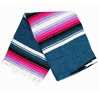 Mexican Blanket Blue Pink Purple Black Southwest Diamond Serape Boho Falsa Yoga