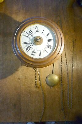Antique Booker Postman's Alarm ?american Chain Driven Wall Clock Spare Or Repair
