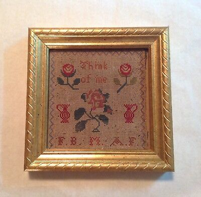 """Antique VICTORIAN PUNCH PAPER Embroidery SAMPLER Think of Me - 6x6"""" w/Funeral Ad"""