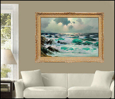 Alexander Dzigurski Large Oil Painting On Canvas Translucent Wave Seacape Signed