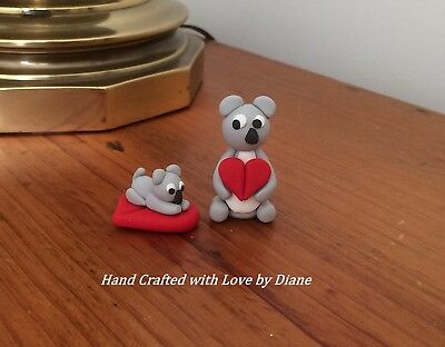 Pair of Miniature Polymer Clay Hand Sculpted Koala Bears with Hearts - Valentine