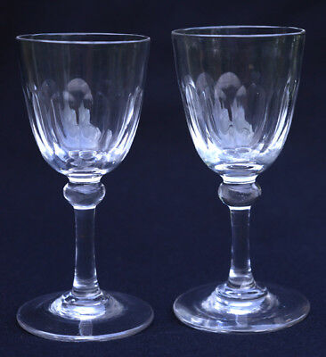 Matching pair of late Georgian or early Victorian wine, cordial, port glasses