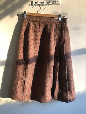 JERRY MARGIL 1970s Wool Brown Skirt with Pleating