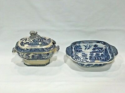 Lot Of TWO Antique Blue Willow Serving Pieces - Covered Tureen & Open Dish