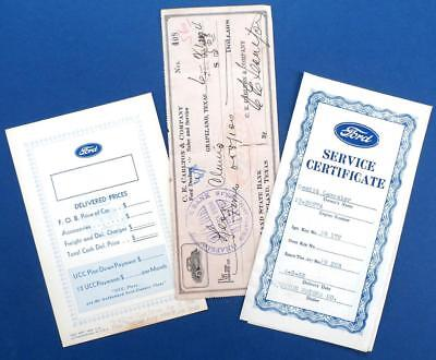1932 FORD dealer's bank check - price card - service certificate