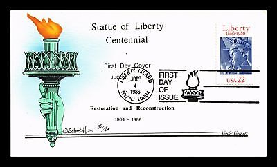 Dr Jim Stamps Us Cover Statue Of Liberty Fdc Hand Colored Nordic Scott 2224