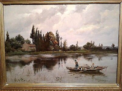 Antique Master 19th-century oil painting  Adolphe Louis GAUSSEN  The Crossing