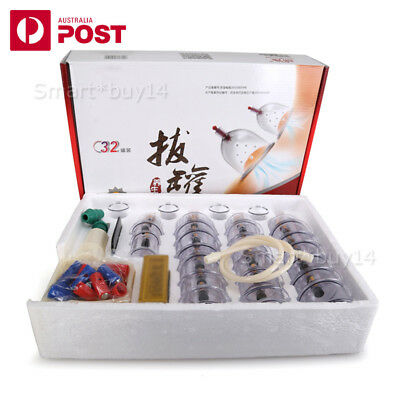 NEW 32 Cups Vacuum Cupping Set Massage Acupuncture Suction Massager Pain Relief