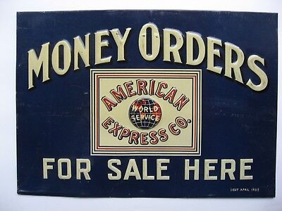 1921 American Express Co (World Service) Money Orders For Sale Here  Tin Sign