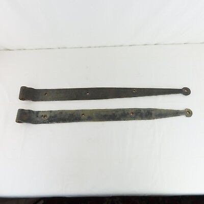 "2 Antique Hand Forged Iron Barn Door Strap Hinges 33"" L & 3"" W Rare New Jersey"