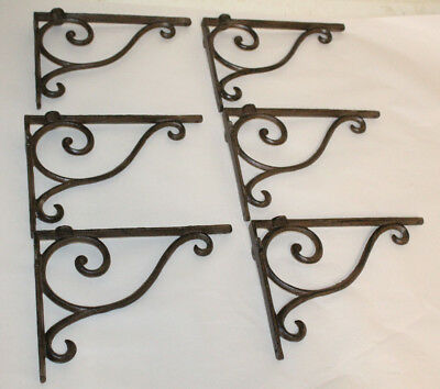 6 Cast Iron Antique Style Brackets Garden Brace Shelf Bracket RUSTIC FARM Scroll