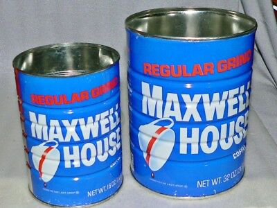 2 Vintage Maxwell House Coffee Tins Can w/Lids Kitchen Decor Display 1, 2 LBS Fa