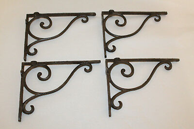 4 Cast Iron Antique Style Brackets Garden Brace Shelf Bracket RUSTIC FARM Scroll