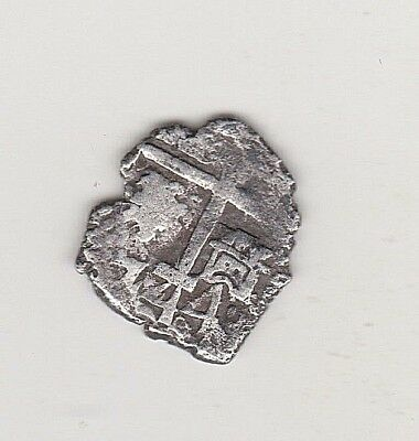 LIMA PERU 1/2 real1744 L V Two  dates  off-center cross large date 1744