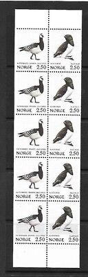 Bird Stamps in Strip of 10 - Norway - MNH - 1983