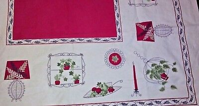 """VINTAGE TABLECLOTH ( RED & WHITE) ~ 60"""" x 47"""" w/ candles, lamps, kitchen,"""