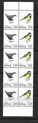 Bird Stamps in Strip of 10 - Norway - MNH - 1980