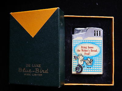 Vintage Weber's Bread Musical Advertising Cigarette Lighter in Orig. Box~No Resv