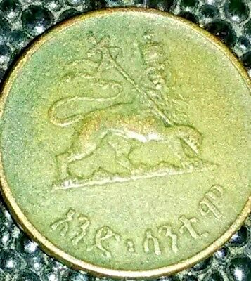 1936 Ethiopia 10 Cent Copper World Coin Haile Selassie Crowned Lion Africa