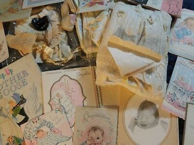 AMAZING vintage BABY LOT! CARDS, CLOTHES, BONNETS MOTHER GOOSE BOOK, OG BABY PIC
