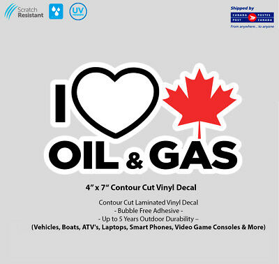 """4"""" x 7"""" I Love Canadian Gas & Oil Laminated Vinyl Decal"""