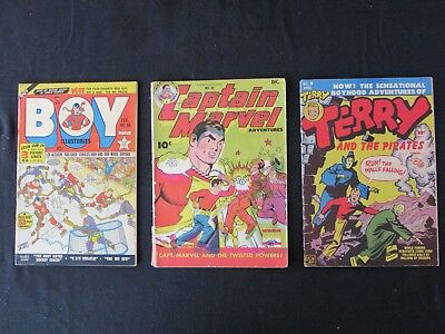 Golden Age lot of 3 - Capt Marvel #50, Terry and the Pirates #9, Boy Comics #50,