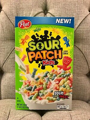 New Post Sour Patch Kids Flavored Cereal 18 Oz Sour Then Sweet Free Shipping