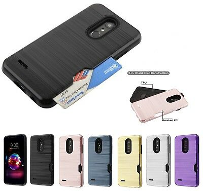 For LG G7 ThinQ Hybrid Shockproof Rubber Hard TPU Cover Case Credit Card Holder