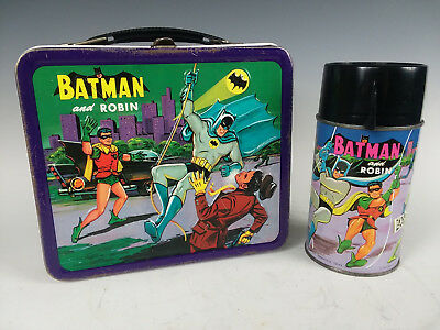 Vintage 1966 BATMAN Lunchbox with Aladdin Thermos  Robin Penguin Joker