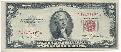1953 $2 United States Note-Binary Serial #19171997-Date Off Center-Ships Free!