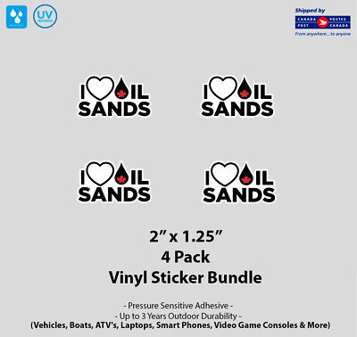 "4- Pack 2"" x 1.25"" I Love Canadian Oil Sands Vinyl Stickers"