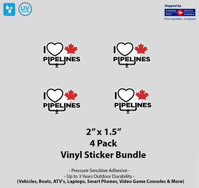 "4- Pack 2"" x 1.5"" I Love Canadian Pipelines Vinyl Stickers"