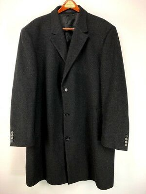 d83704f82a67b Calvin Klein Mens Wool Blend Overcoat Trench Charcoal Gray EUC Size 50 XL