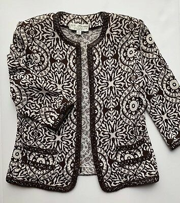 Pretty ST. JOHN Collection Marie Gray Brown Santana Knit Sweater Jacket 4 S EUC