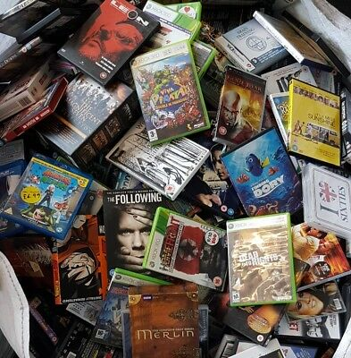 100kg mixed media games cds boxsets dvds wholesale car boot re sell