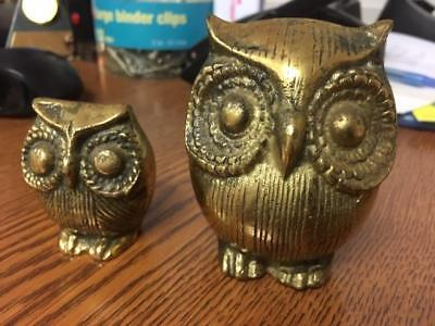 """(2) Vintage Mid Century Modern Brass Owl Figurine 3"""" and 2"""" Tall Great Patina"""