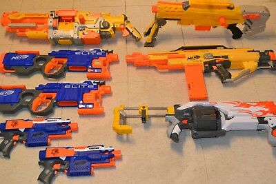 LOT OF 8 NERF HANDGUNS & RIFLES for PLAY, MODS, PARTS OR COSPLAY (PRE-OWNED)!!!