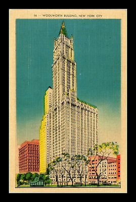 Dr Jim Stamps Us Woolworth Building New York City Linen View Postcard