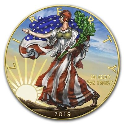 2019 USA $1 SUNSHINE WALKING LIBERTY 1 Oz Silver Coin, 24Kt Gold.