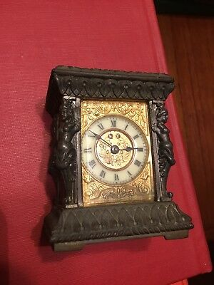 VTG Carriage Clock Antique Brass Beautiful Patina Ornate