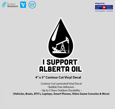 "4"" x 5"" I Support Alberta Oil Laminated Vinyl Decal"