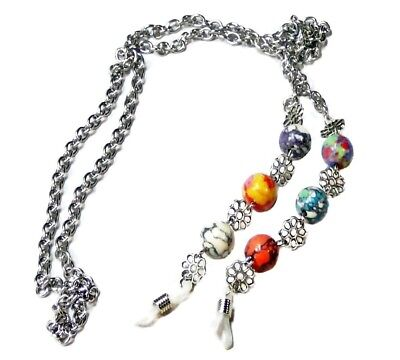 Reading Eye glasses, spectacle stainless steel chain holder - Rainbow Mosaic