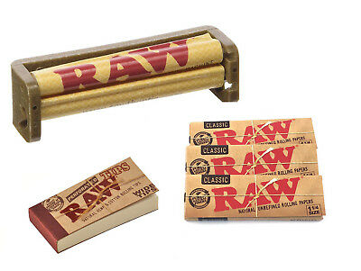 Raw Rolling Paper Bundle - 1 Raw Perforated Tips +  3x 1 1/4 Raw Paper +79mm