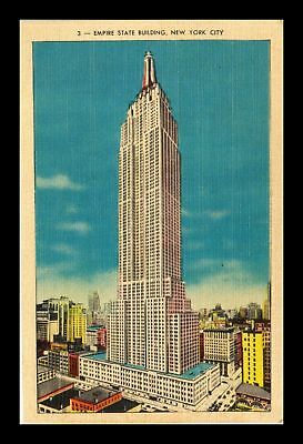 Dr Jim Stamps Us Empire State Building New York City Linen View Postcard